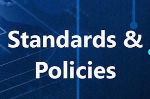 Technology background with Standards & Policies text overlay