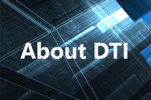 Who is DTI? text overlaying a technology background