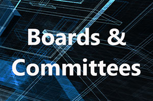 Boards & Committees text overlaying a technology background.