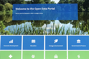 Open Data Portal website open on a laptop